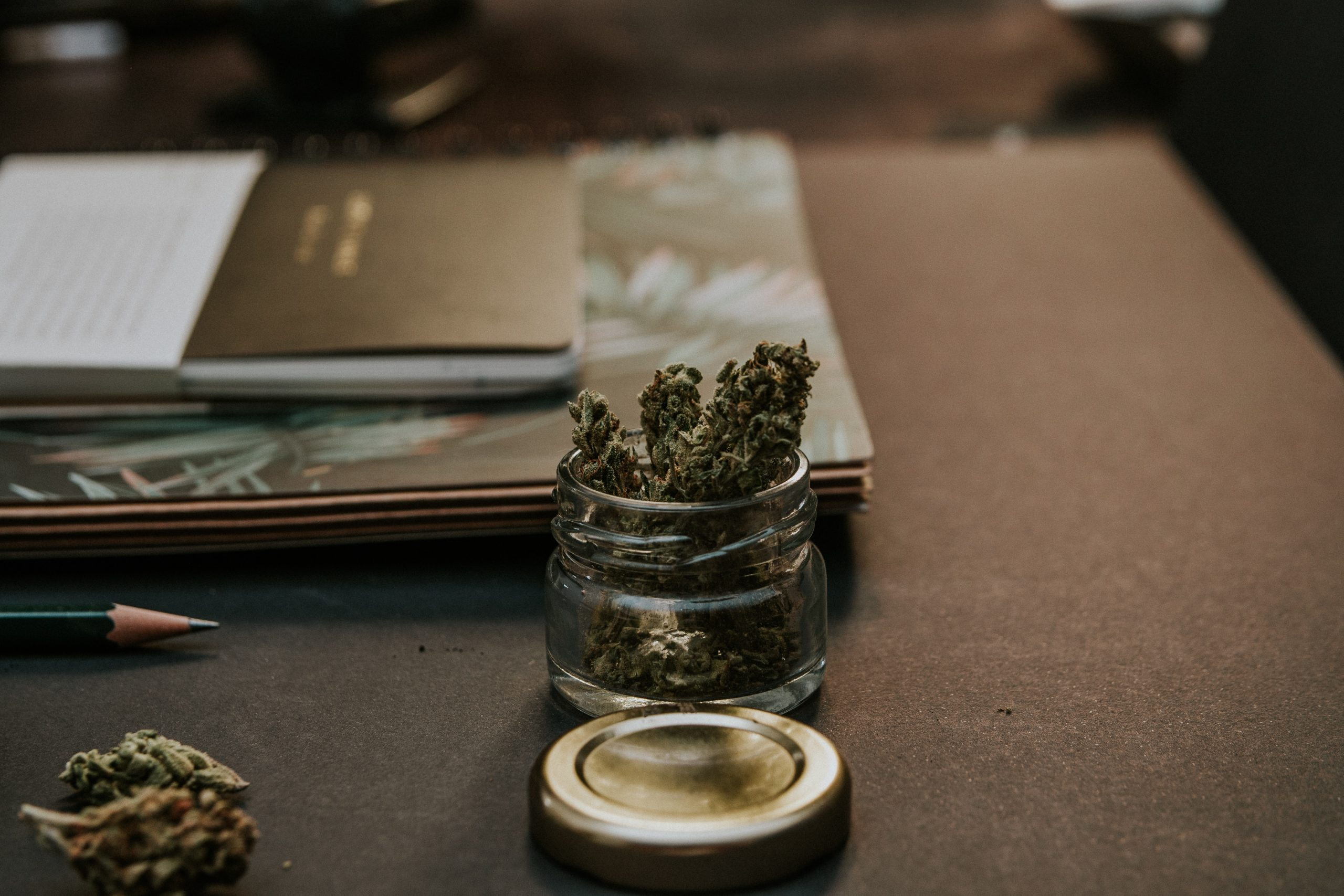 journal on desk next to weed